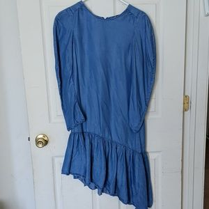 Zara trf collection blue chambray high low dress
